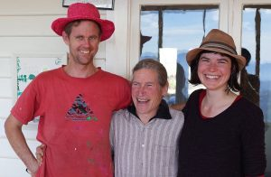 David Holmgren looking short with tall poppies of Tassie permaculture  Hannah Moloney and Anton Vikstom
